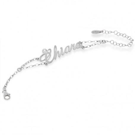 Artlinea - Bracciale argento con nome grande e swarovski.