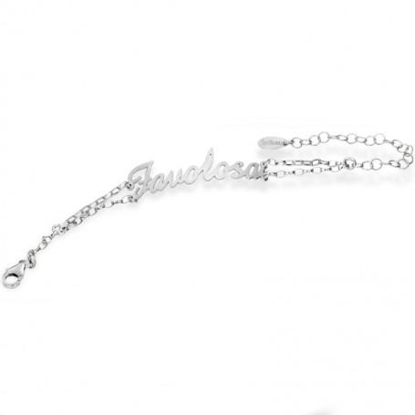 Artlinea - Bracciale argento con nome piccolo e swarovski.